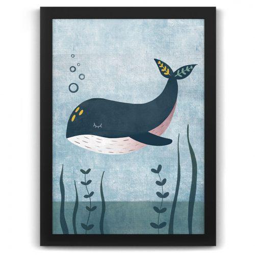 Whale nursery print black frame