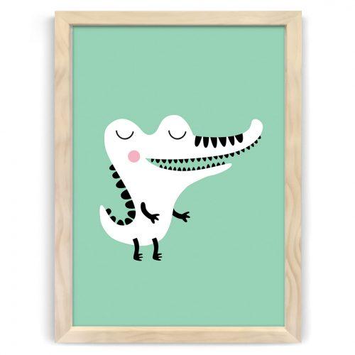 Pastel safari crocodile print natural wood frame