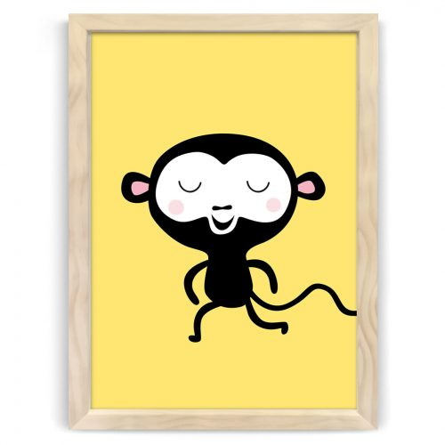 Pastel safari monkey print natural wood frame