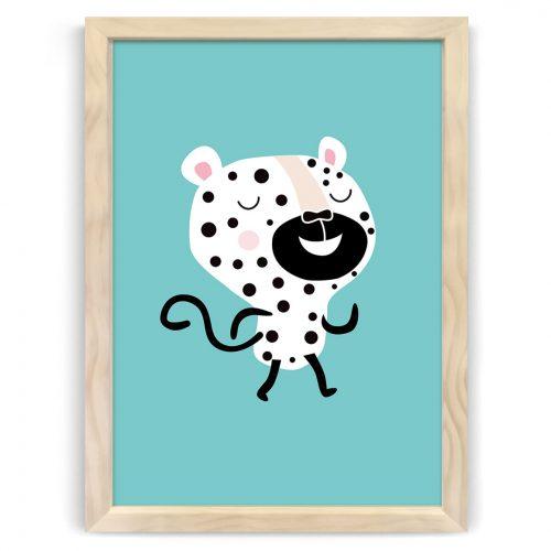 Pastel safari cheetah print natural wood frame