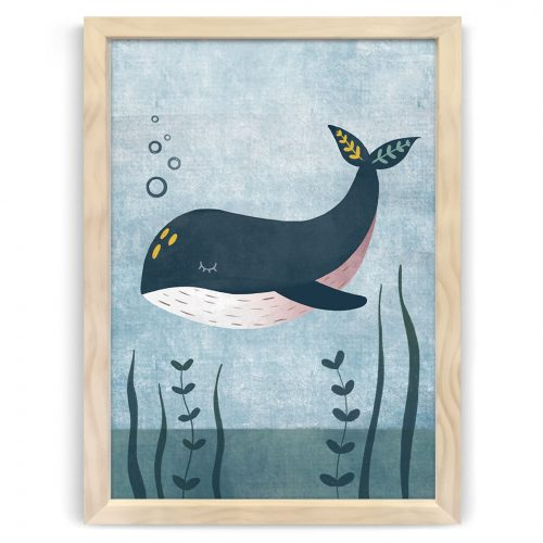 Whale nursery print natural wood frame