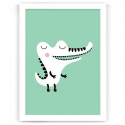 Pastel safari crocodile print white frame