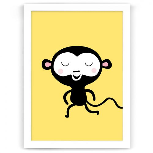Pastel safari monkey print white frame
