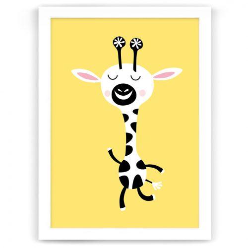 Pastel safari giraffe print white frame