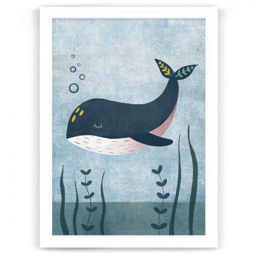 Whale nursery print white frame