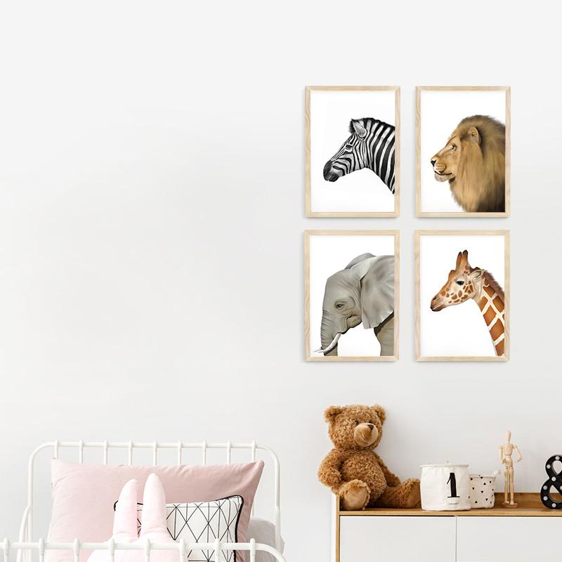 "Nursery Decor 11/"" x 11/"" Nursery Wall Art Set of 4 Prints for Baby/'s Room Blue Monkey Boy"