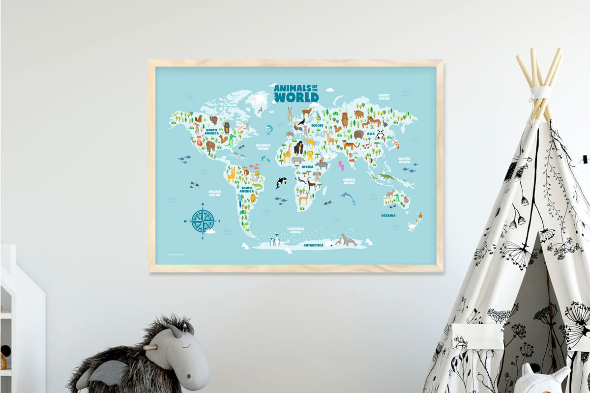 Nursery Wall Art Animals of the World Map Framed Print