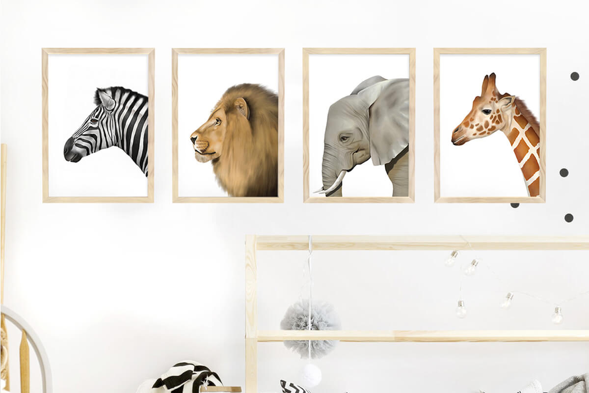 Nursery Wall Art Safari Animals Framed Print Set