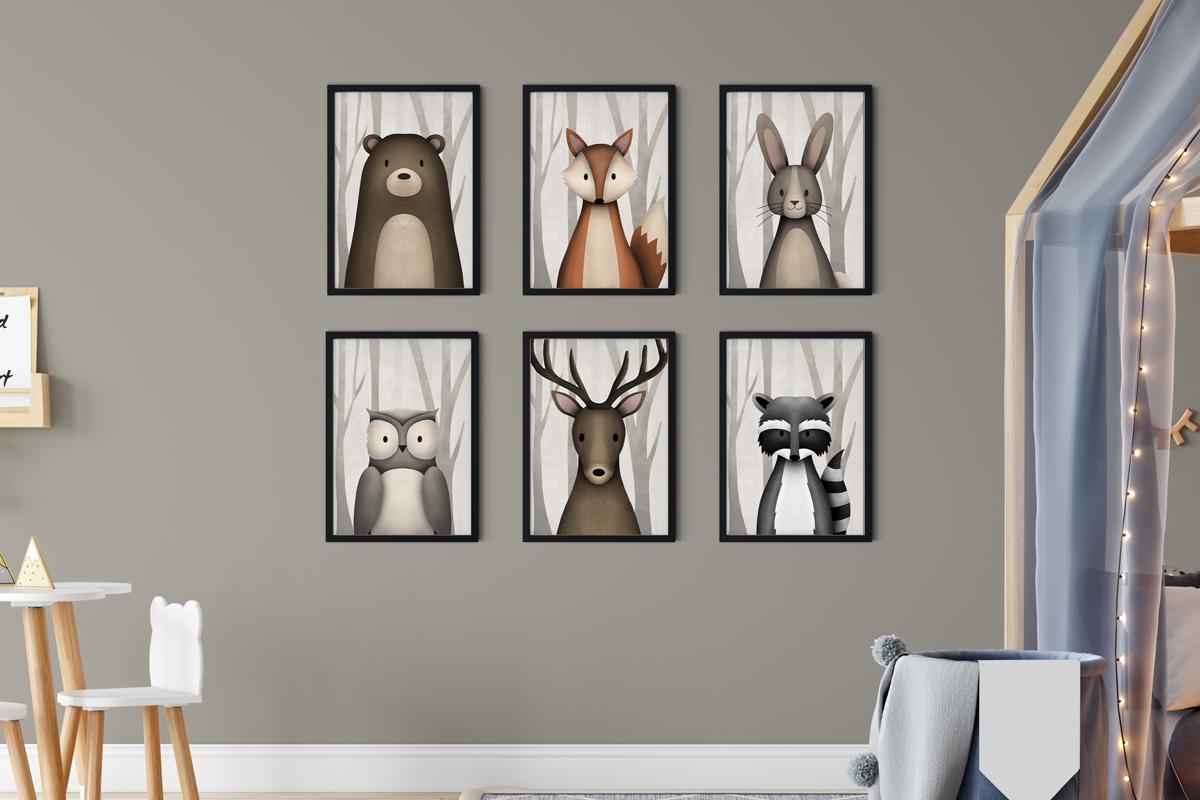 Woodland Animals print collection 6 Black Framed prints