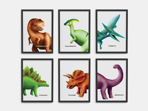 Dinosaur Nursery Wall art framed print collection