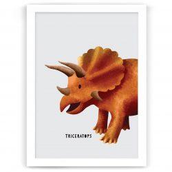 Dinosaur Triceratops nursery kids art print nz