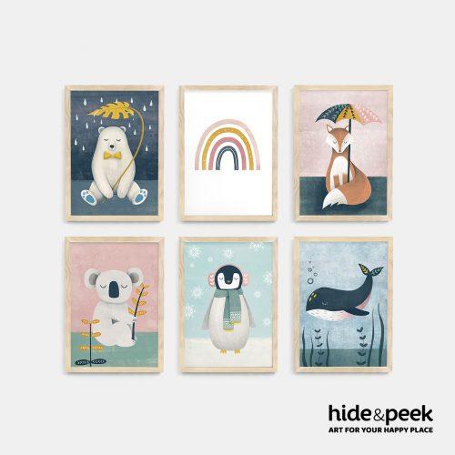 Polar Bear Rainbow Fox Koala penguin whale nursery print kids art nz