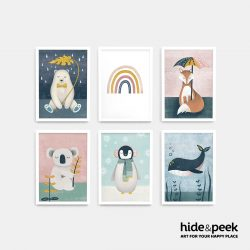 Polar Bear Rainbow Fox Koala penguin whale nursery print kids art nz