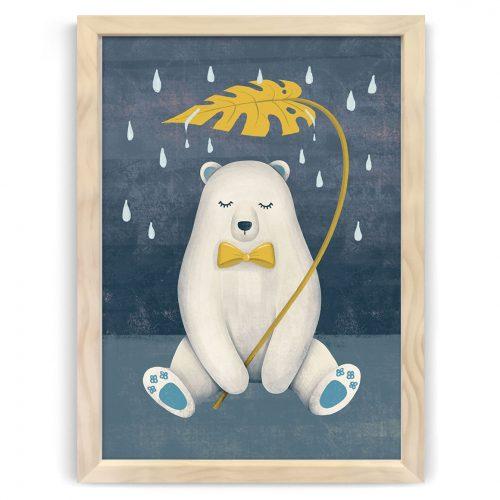 Whimsical Polar Bear Nursery Kids Art Print NZ
