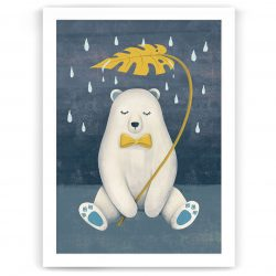 Whimsical Polar Bear Nursery Kids Art Print NZ