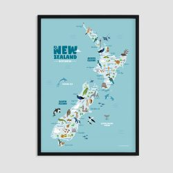 Animals of New Zealand Map print, black frame, nursery wall art