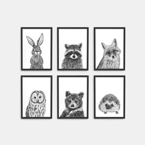 Baby animal prints set – Black frame – Nursery Wall Art