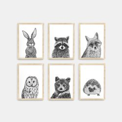 Baby animal prints set – Natural Wood frame – Nursery Wall Art