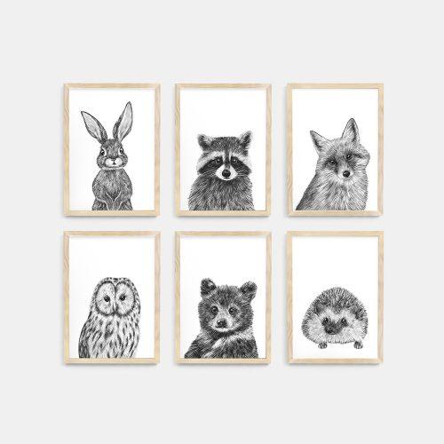 Baby animal prints set – Natural Wood frame – Nursery Wall Art