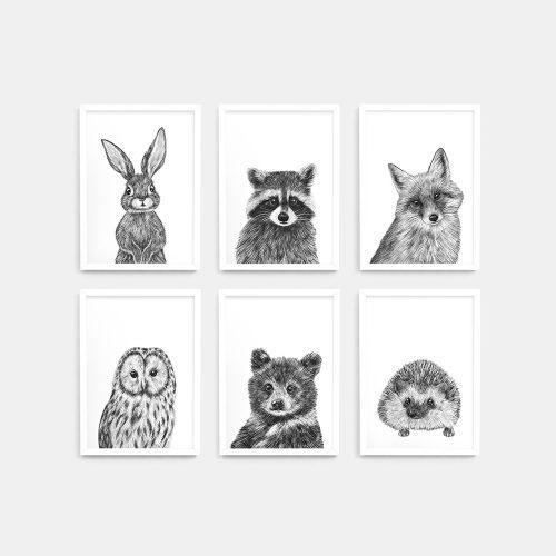 Baby animal prints set – White frame – Nursery Wall Art