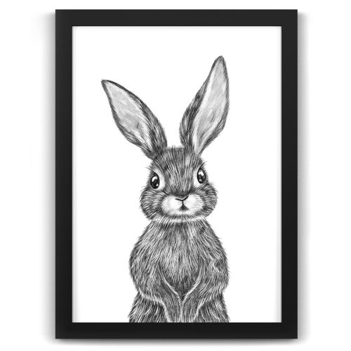 Baby Rabbit Print Black Frame