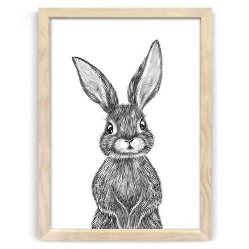Baby Rabbit Print Natural Wood Frame