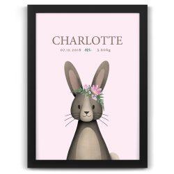 Bunny Rabbit Personalised Baby Birth Print – Black Frame