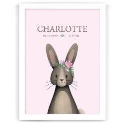 Bunny Rabbit Personalised Baby Birth Print – White Frame