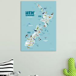 Animals-of-new-zealand-map-print-canvas-nursery-kids-hide-and-peek-room