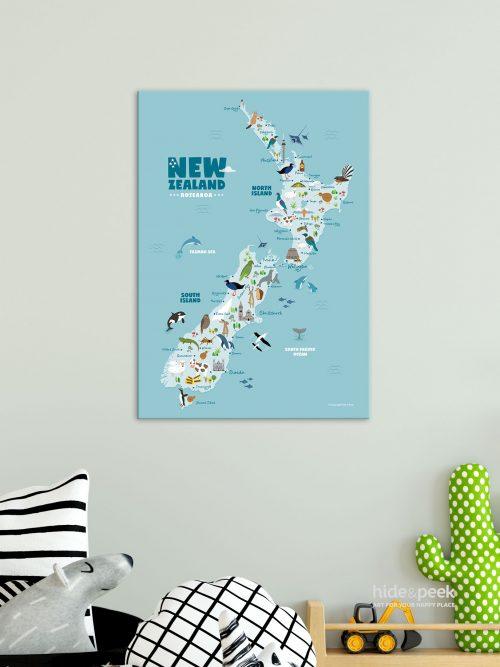 Animals-of-new-zealand-map-print-canvas-nursery-kids-hide-and-peek-room