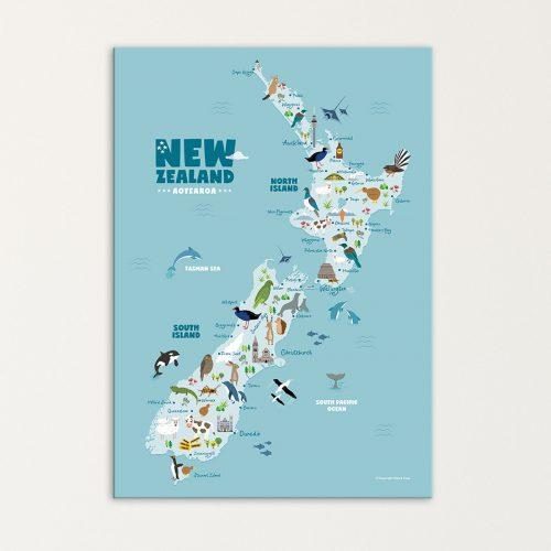 Animals-New-Zealand-map-print-canvas-nursery-kids-art-hide-and-peek-product-image